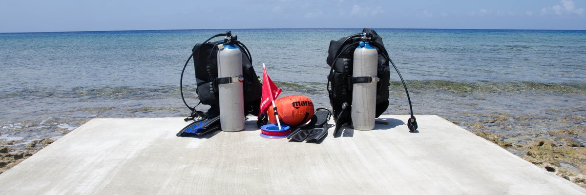 Ready for shore diving off jetty..